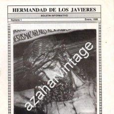 Collectionnisme: SEMANA SANTA SEVILLA, 1988, BOLETIN NUMERO 1 DE LA HERMANDAD DE LOS JAVIERES. Lote 95296955