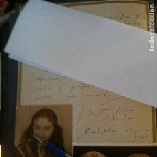Coleccionismo: CARTA DE AGRADECIMIENTO DE JOSEFINA SALVADOR SEGARRA,A LA BANDA MUNICIPAL DE CASTELLON. Lote 95429015