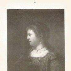 Coleccionismo: LAMINA 350: REMBRAND. SASKIA . Lote 95716782