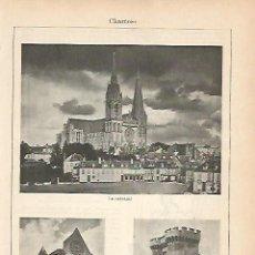 Coleccionismo: LAMINA ESPASA 1904: VISTAS DE CHARTRES FRANCIA. Lote 95751903