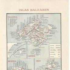 Coleccionismo - LAMINA ESPASA 9702: Mapa de las Islas Baleares - 95783732