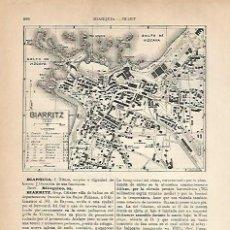 Coleccionismo: LAMINA ESPASA 22222: PLANO Y ESCUDO DE BIARRITZ. Lote 95784822