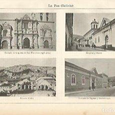 Coleccionismo: LAMINA ESPASA 2380: PANORAMAS DE LA PAZ BOLIVIA. Lote 95916400
