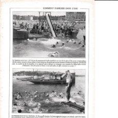 Coleccionismo: LAMINA 30165: LA TOBOGAN AQUATIQUE LES PREMIERS EBATS EN EAU PROFONDE. Lote 95916442