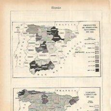 Coleccionismo: LAMINA ESPASA 22474: PRODUCCION DE REMOLACHA Y GANADO CABALLAR EN ESPAÑA EN 21929. Lote 195482701