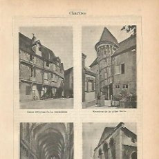 Coleccionismo: LAMINA ESPASA 1906: IMAGENES DE CHARTRES FRANCIA. Lote 96197052