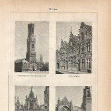 Coleccionismo: LAMINA ESPASA 11797: EDIFICIOS DE BRUJAS BELGICA. Lote 96380840