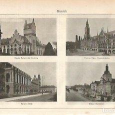 Coleccionismo: LAMINA ESPASA 11510: PALACIO DE JUSTICIA AYUNTAMIENTO PALACIO REAL Y MUSEO NACIONAL DE MUNICH. Lote 96389332