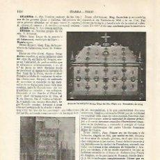 Coleccionismo: LAMINA ESPASA 20824: URNA DE LAS RELIQUIAS DE IÑIGO DE OÑA. Lote 96818439