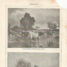 Coleccionismo: LAMINA ESPASA 20531: EN EL ABREVADERO Y AGUADORES POR C. TROYON. Lote 96924728