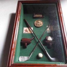 Coleccionismo: BONITO CUADRO CON CRISTAL CON MINIATURAS DE GOLF.. Lote 97576091