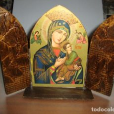 Coleccionismo: ANTIGUA CAPILLA DE SOBREMESA DE MADERA MIDE ABIERTA 20 X 15 CM VER FOTOS. Lote 97911007