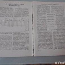 Coleccionismo: GRANDES RECEPTORES RADIOFÓNICOS - 8 PÁGINAS TEXTOS Y ESQUEMAS Nº 60.430 PROCEDE DE LIBRO + 70 AÑOS . Lote 98191723