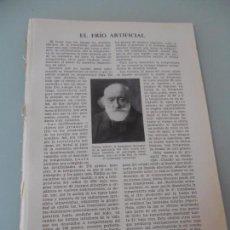 Coleccionismo: EL FRÍO ARTIFICIAL - 5 PÁGINAS TEXTOS Y ESQUEMAS Nº 60.433 PROCEDE DE LIBRO + 70 AÑOS . Lote 98192275