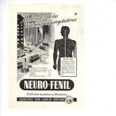 Coleccionismo: AÑO 1955 RECORTE PUBLICIDAD MEDICINA FARMACIA NEURO FENIL LABORATORIOS TURON BARCELONA. Lote 98195991