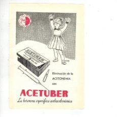 Coleccionismo: AÑO 1955 RECORTE PUBLICIDAD MEDICINA FARMACIA ACETUBER HORMONA LABORATORIOS HUBBER ACETONEMIA BCNA. Lote 98196655