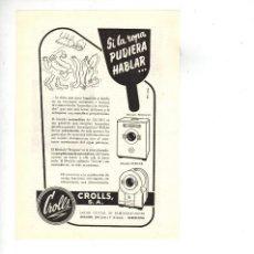 Coleccionismo: AÑO 1955 RECORTE PUBLICIDAD ELECTRODOMESTICOS LAVADORA CROLLS. Lote 98199151