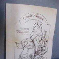Coleccionismo: GRANJA ANIMAL: PRIMERA ÓPERA ROCK EN CATALÀ (1976). DÍPTICO PROGRAMA DE MANO, GEORGE ORWELL. Lote 98372847