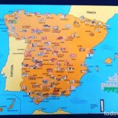 Coleccionismo: LÁMINA DOBLE INTERACTIVA PARADORES DE TURISMO DE ESPAÑA. DIFUSIÓN CARTOGRÁFICA, 1991. FOLLETO.. Lote 98787331