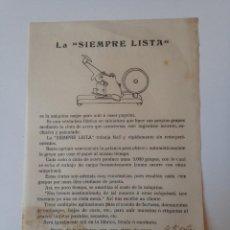 Coleccionismo: HOJA PUBLICIDAD ORIGINAL MUY ANTIGUA. LA SIEMPRE LISTA, ASIN PALACIOS. Lote 99024691