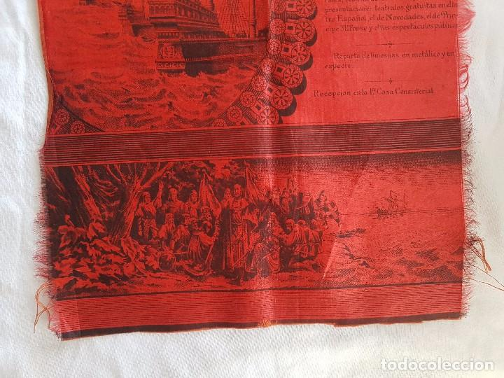 Coleccionismo: IV CENTENARIO DESCUBRIMIENTO DE AMERICA (AÑO 1892) PROGRAMA DEL AYUNTAMIENTO DE MADRID EN SEDA - Foto 5 - 100153931