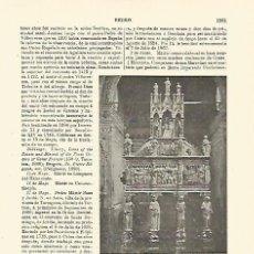 Coleccionismo: LAMINA ESPASA 23911: URNA DE SAN PEDRO MARTIR EN MILAN. Lote 100190068