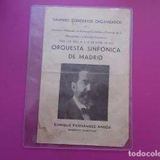 Coleccionismo: PROGRAMA GRANDES CONCIERTOS ORGANIZADOS ORQUESTA SINFONICA DE MADRID 1935 DOBLE HOJA . Lote 100629831