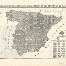 Coleccionismo: LAMINA ESPASA 24484: MAPA DE ESPAÑA DE PRODUCCION DE GANADO MULAR. Lote 195482718