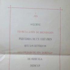 Coleccionismo: PROGRAMA DEL COLEGIO DE SANTO DOMINGO DE ORIHUELA 1896 ALICANTE. Lote 101169299