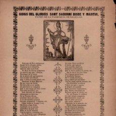 Coleccionismo: GOIGS DE SANT SADURNÍ - SALELLAS (IMP. ROCA, MANRESA, S.F.). Lote 101198163