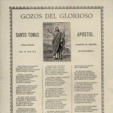 Coleccionismo: GOIGS GOZOS DEL GLORIOSO SANTO TOMÁS APÓSTOL (TIP. ESPAÑOLA, BARCELONA, S.F.). Lote 101201743