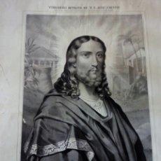 Coleccionismo: -LITOGRAFIA S XIX VERDADERO RETRATO DE N. S. JESU-CRISTO. Lote 101637188
