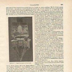 Coleccionismo: LAMINA ESPASA 14696: ORGANO DE LA IGLESIA DE SAN PEDRO EN CALATAYUD ZARAGOZA. Lote 101738983