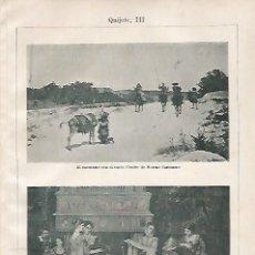 Coleccionismo: LAMINA ESPASA 20716: CUADROS DE MORENO CARBONERO Y DE A. GISBERT. Lote 101977862
