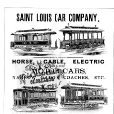 Coleccionismo: LAMINA TRANVIAS ANTIGUA PUBLICIDAD SAINT LOUIS CAR COMPANY HORSE TRAMWAY CARS - FERROCARRIL. Lote 102377587