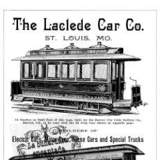 Coleccionismo: LAMINA TRANVIAS ANTIGUA PUBLICIDAD THE LACLEDE CAR CO. ST. LOUIS TRAMWAY CARS - FERROCARRIL. Lote 102377807