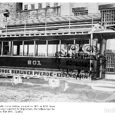 Coleccionismo: LAMINA TRANVIAS DE BERLIN A CABALLOS HORSE RAILWAY / TRASERA BRUSELAS TRAMWAY CARS - FERROCARRIL. Lote 102378131