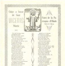 Coleccionismo: GOIGS A SANT VICENTS PATRÓ DE LA PARRÒQUIA D'OBIOLS BISBAT DE SOLSONA. Lote 102952519