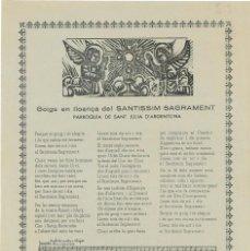 Coleccionismo: GOIGS EN LLOANÇA DEL SANTISSIM SAGRAMENT PARROQUIA DE SANT JULIA D'ARGENTONA - 1956. Lote 102953131