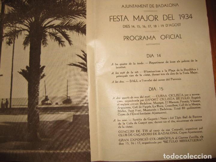 Coleccionismo: programa festa major badalona 1934 . 8 pág. fiesta mayor . publicidad local - Foto 2 - 103727819