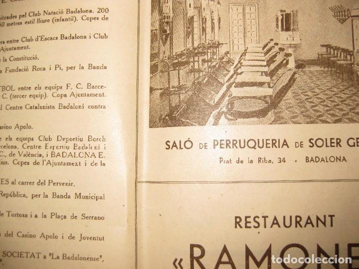 Coleccionismo: programa festa major badalona 1934 . 8 pág. fiesta mayor . publicidad local - Foto 4 - 103727819