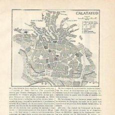 Coleccionismo: LAMINA DE ESPASA 00153: PLANO DE CALATAYUD TERUEL. Lote 105111811