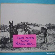 Coleccionismo: LAMINA DEL PINTOR ANGEL CUESTA - PALENCIA - PAISAJE RURAL 1978 - IMPRENTA MERINO - 23,5 X 19,5 CM. Lote 105800735