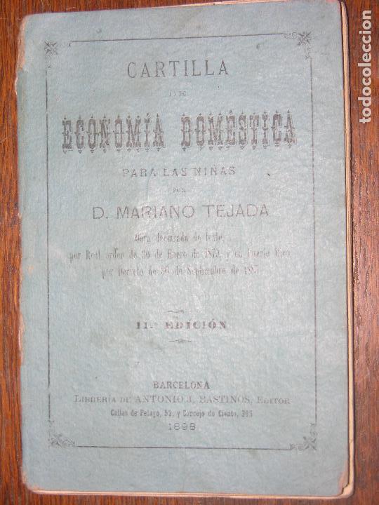 (F.1) CARTILLA ECONÓMICA DOMESTICA PARA LAS NIÑAS POR D. MARIANO TEJADA ANO 1898 (Coleccionismo - Laminas, Programas y Otros Documentos)