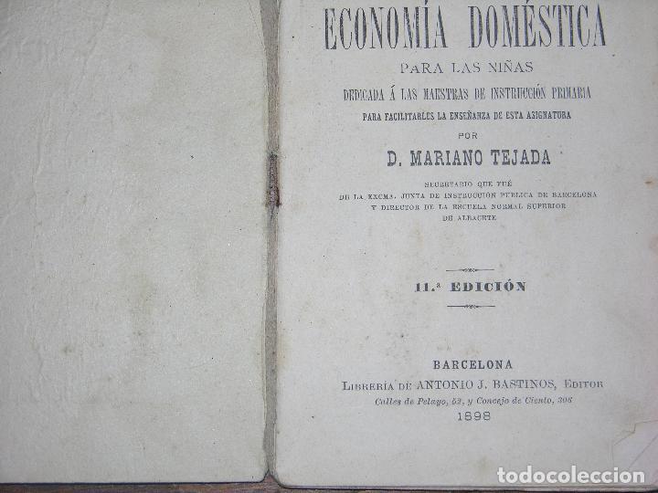 Coleccionismo: (F.1) CARTILLA ECONÓMICA DOMESTICA PARA LAS NIÑAS POR D. MARIANO TEJADA ANO 1898 - Foto 2 - 105871747