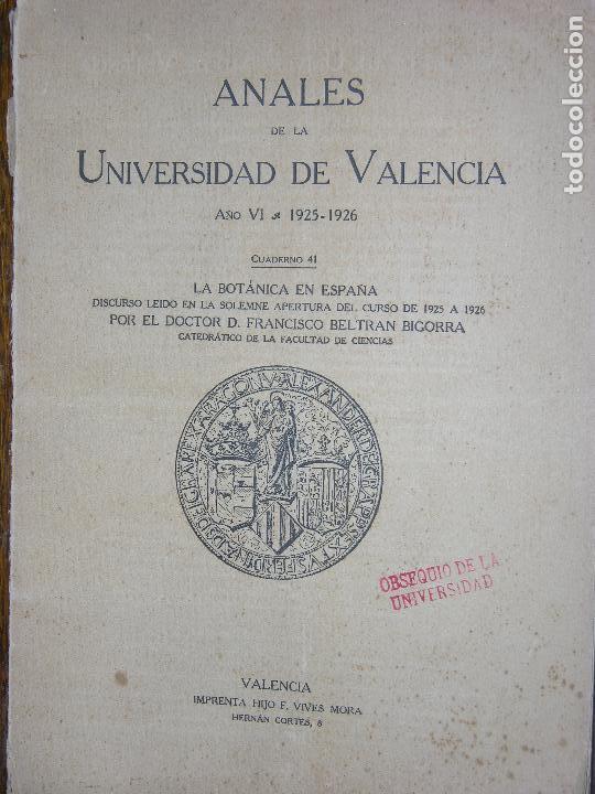 (F.1) ANALES DE LA UNIVERSIDAD DE VALENCIA AÑO 1925-1926 (Coleccionismo - Laminas, Programas y Otros Documentos)