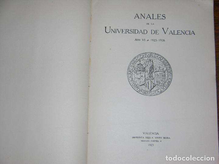 Coleccionismo: (F.1) ANALES DE LA UNIVERSIDAD DE VALENCIA AÑO 1925-1926 - Foto 2 - 105872983