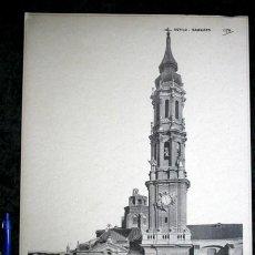 Coleccionismo: FOTOGRAFIA - ZARAGOZA - LA CATEDRAL VIEJA - FACHADA - 39X27CM - CIRCA 1890. Lote 105996139