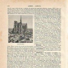 Coleccionismo: LAMINA ESPASA 5522: CATEDRAL DE AMIENS FRANCIA. Lote 106273948