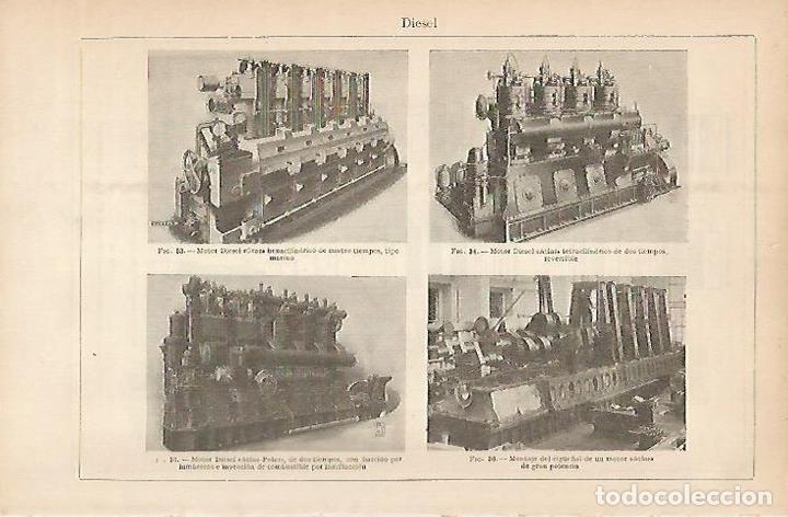 LAMINA ESPASA 5376: MODELOS DE MOTOR DIESEL (Coleccionismo - Laminas, Programas y Otros Documentos)